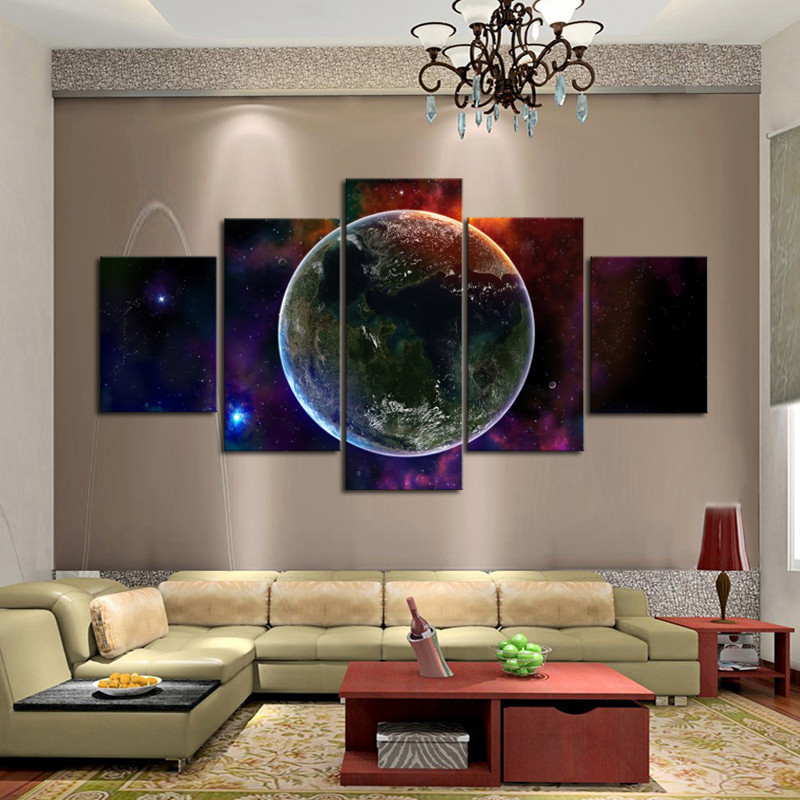 Decorating Ideas Unique Living Rooms: Fantasy Universe Wall Art Unique 5 Panels Wall Painting