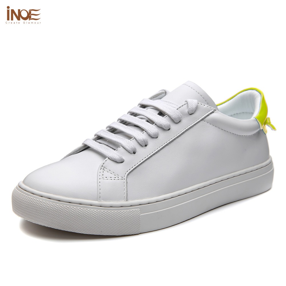 INOE fashion spring style genuine cow leather casual sneakers wedding shoes  for women flats leisure driving shoes 35 42 green-in Women s Flats from Shoes  on ... 94be9ca4f52d