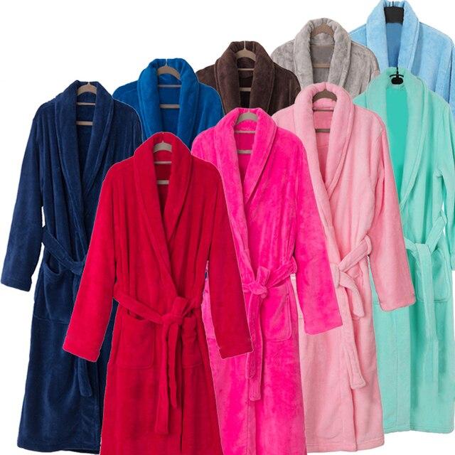 En Venta Lovers Kimono Albornoz de Franela Larga de Seda de Lujo para Hombres y Mujeres Albornoz Invierno ropa de Noche de la dama de Honor Batas de Vestir vestido