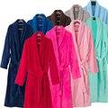Na Venda Amantes Flanela Roupão De Banho Quimono de Seda de Luxo para As Mulheres e Homens Noite Vestes Roupão de Inverno Da Dama de honra Vestir vestido