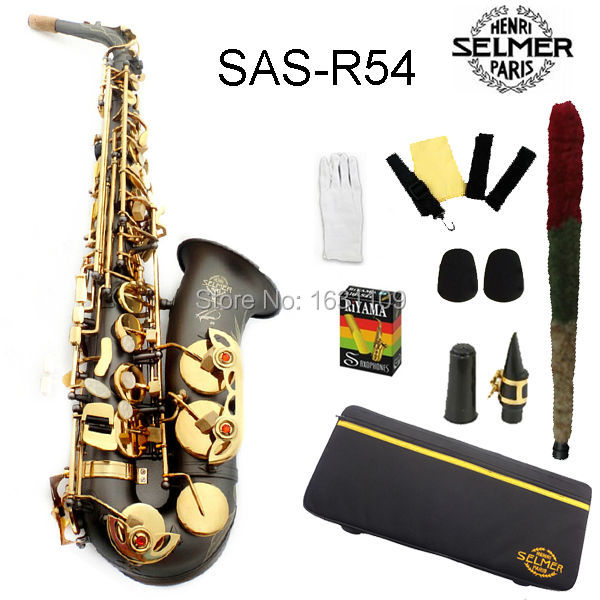Free shipping EMS Genuine France Selmer Alto Saxophone R54 Professional E Scrubs Black Sax mouthpiece With Case and Accessories brand new france selmer alto saxophone r54 professional e black white key sax mouthpiece with case and accessories