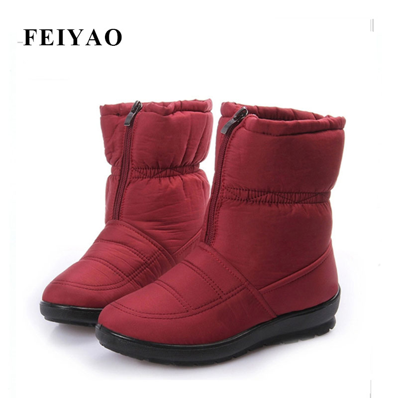 ФОТО 2016 The new non-slip waterproof winter boots plus cotton velvet middle-aged mother shoes warm light big size 41 42 snow boots