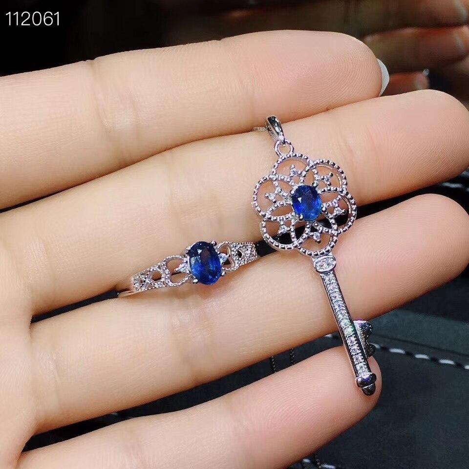 Antique belle clé S925 argent naturel bleu saphir bague pendentif pierre précieuse naturelle bijoux ensemble femme fête cadeau