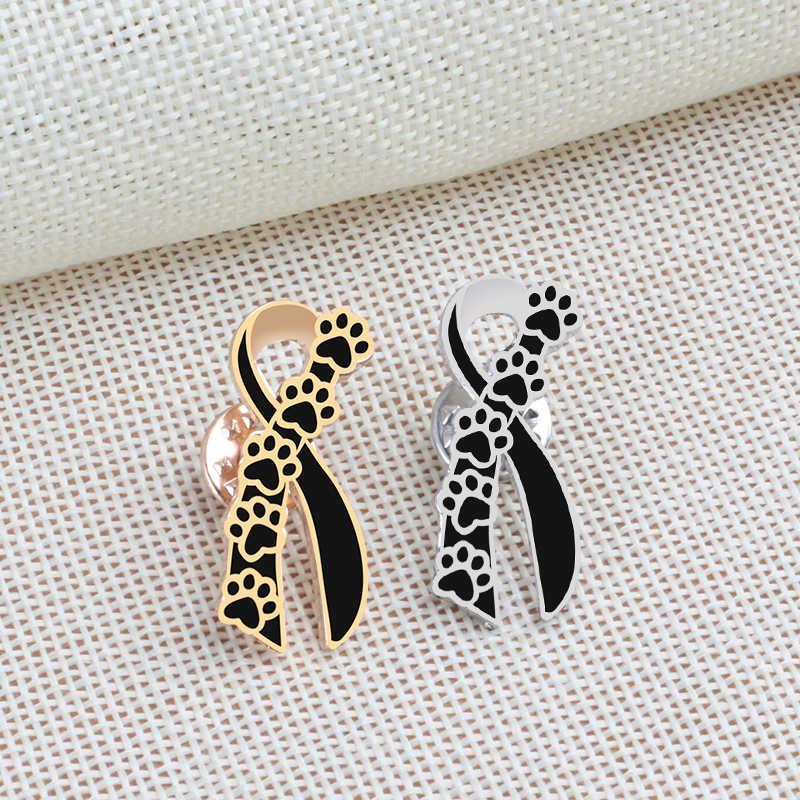 4 Warna PET Paw Cetakan Bros Wanita Lucu Kucing Anjing Enamel Pin Bros Fashion Kerah Mantel Lencana Pria Tombol pin Perhiasan Hadiah