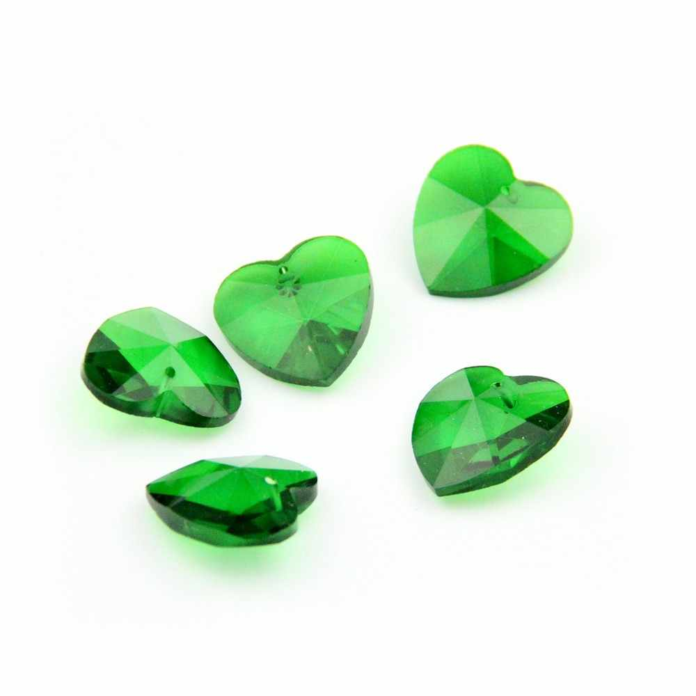 14 мм 100 штук зеленый 1 отверстие бусины в форме сердца кристалл Призма подвески для Вертикальная гирлянда висячие украшения