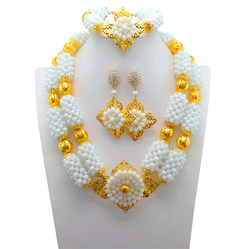 Nigerian White Beads Crystal Costume Jewellery Set Wedding African Beads Jewelry Set New Free ShippingNigerian White Beads Crystal Costume Jewellery Set Wedding African Beads Jewelry Set New Free Shipping