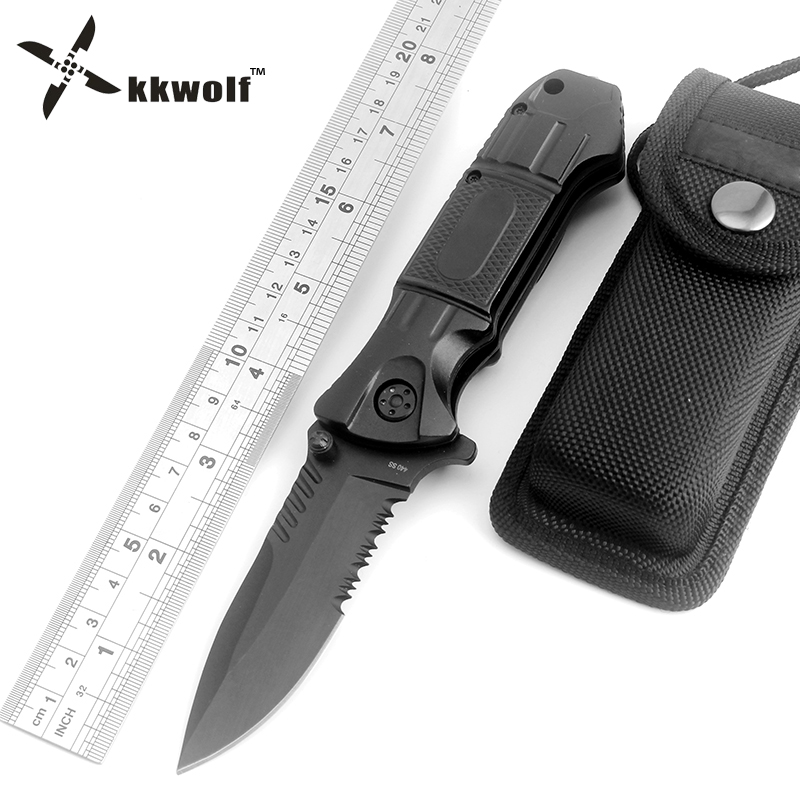 KKWOLF Black Folding Knife 440C Steel Half Serrated Blade Tactical Camping Survival Combat Pocket Knives EDC Hunting Multi Tools dibrera by paolo zanoli туфли