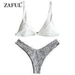 ZAFUL BIkini Sexy High Cut Leopard stringi Bikini zestaw damski strój kąpielowy paski stroje kąpielowe usztywniany brazylijskie BIkini z dekoltem w kształcie litery v SwimmingSuit 1