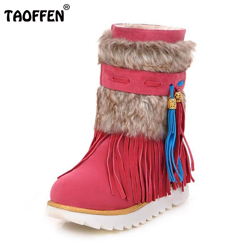TAOFFEN Russia Warm Winter Boots Woman Thick Fur Ankle Boots Women Soft Flat Shoes Ladies Fashion Winter Botas Mujer Size 34-44 russia culinary guidebook