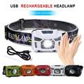 5 Вт USB Перезаряжаемый налобный фонарь 3000лм водонепроницаемый датчик движения тела светодиодная фара для наружного кемпинга рыбалки езда б...