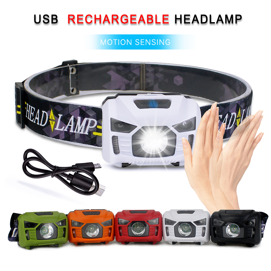 5W USB Rechargeable Headlamp <font><b>3000lm</b></font> Waterproof Body Motion Sensor Led Headlight for Outdoor Camping Fishing Riding Running image