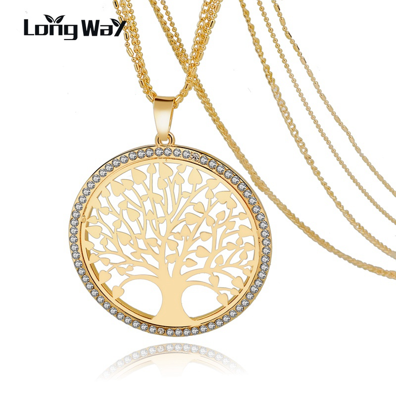 LongWay Tree Of Life Gold Color Long Necklace for Women Vintage Crystal Multilayer Pendant Necklace Female Jewelry Sne160124