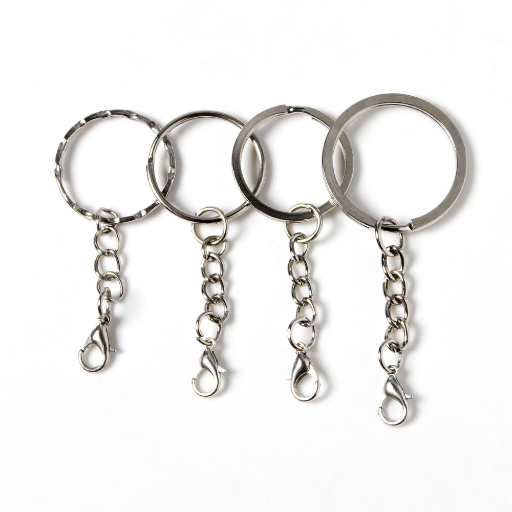 50 Pcs Silver Tone 25mm Diameter Nickel Steel Metal Split Key Rings Connectors