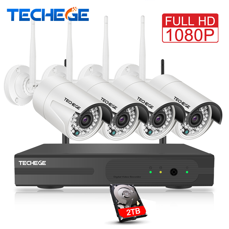 Techege 4CH Surveillance 1080P NVR 1080P WIFI IP Camera 2.0MP wireless kit WiFi Camera CCTV System P2P onvif CCTV camera system
