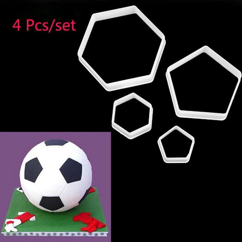 4PCSSet Soccer Form Sugar Craft Molds Football Soccer DIY Fondant Cutters Plastic Stencil Cake Desserts Decorating Tools 991191