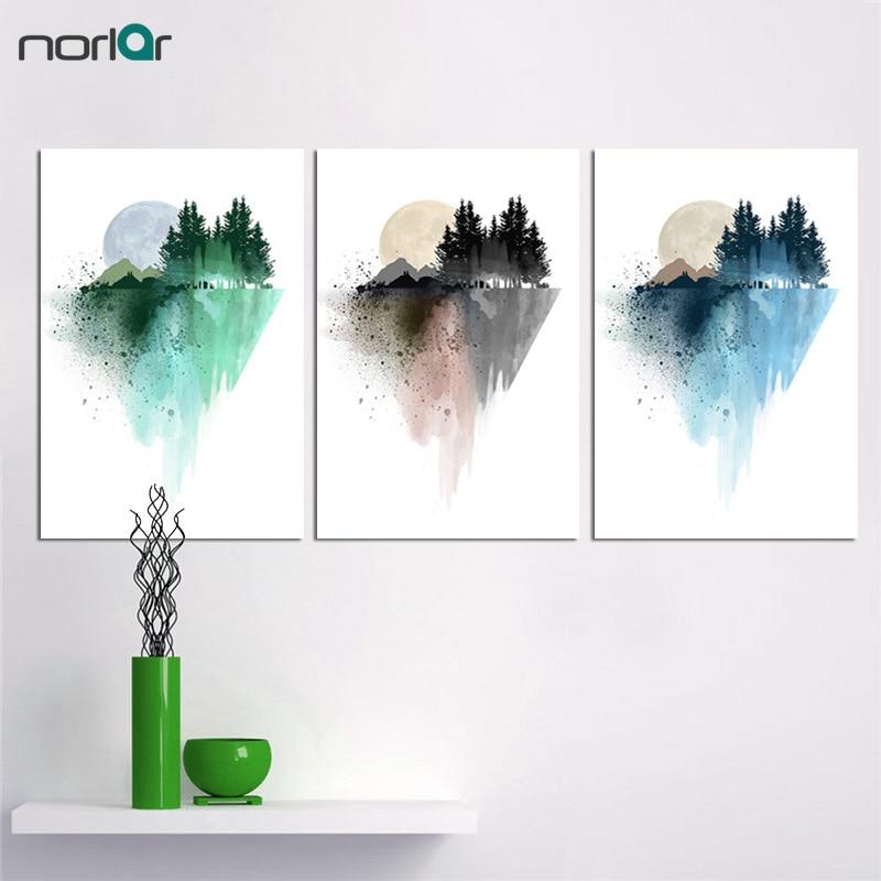 현대 벽 그림 캔버스 그림 수채화 산 인쇄 장식 풍경 예술 거실 프레임