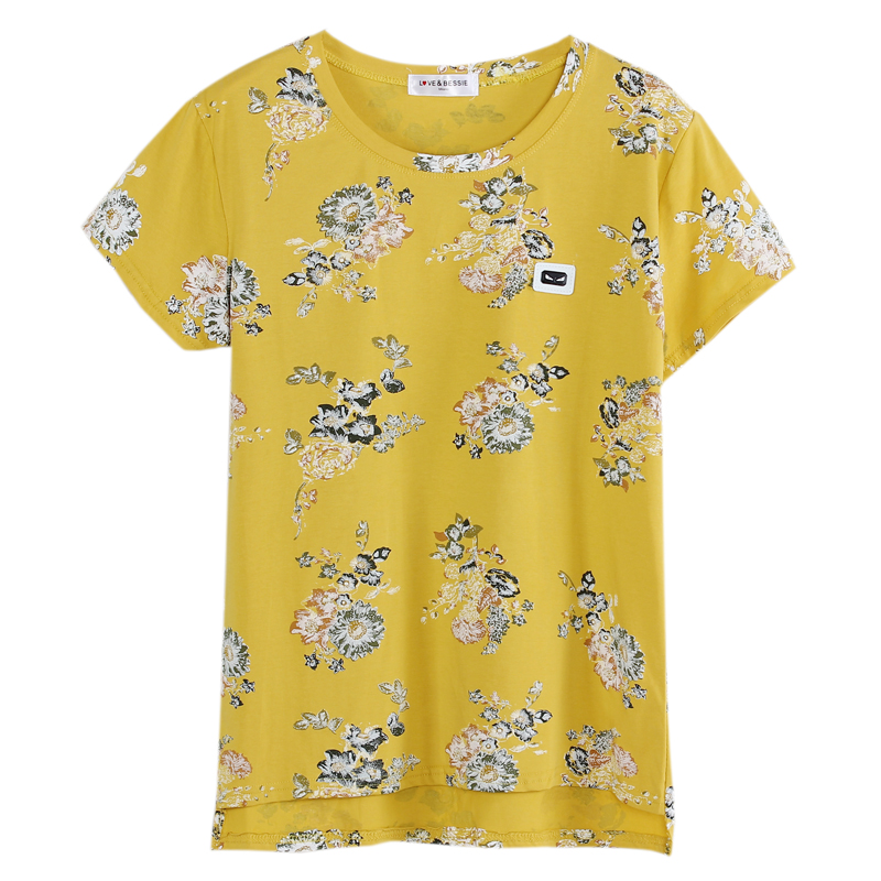 Wsfs Summer Tshirt Short Sleeve Yellow White Pink Floral Print T Shirt Stretch Cotton Gray Casual Tops Tees T-shirt Women Cloth ...