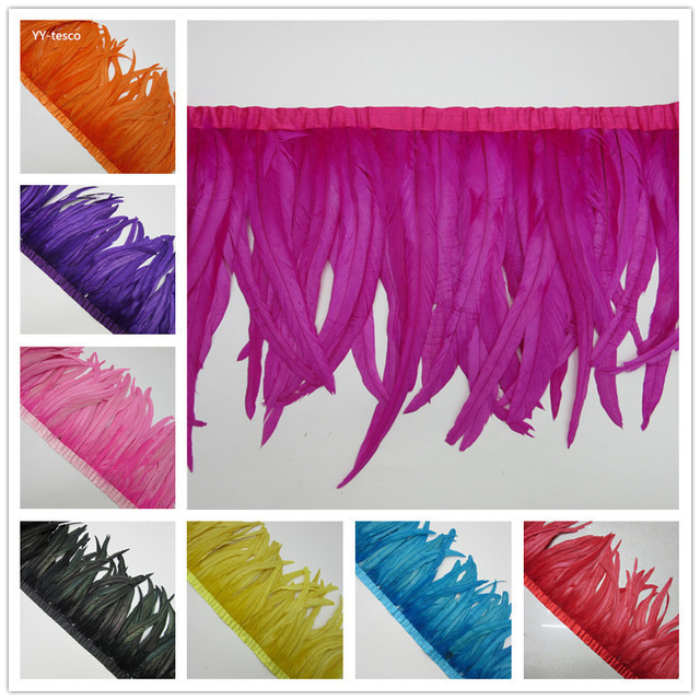 wholesale 10 Yards Dyed burgundy natural Rooster Feather Fringe trims height 30-35cm for skirt /costume/wedding Deco Accessories