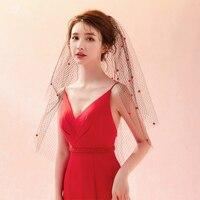LZP394 Black Wedding Veil Small Red Balls Bridal Veil Veu De Noiva