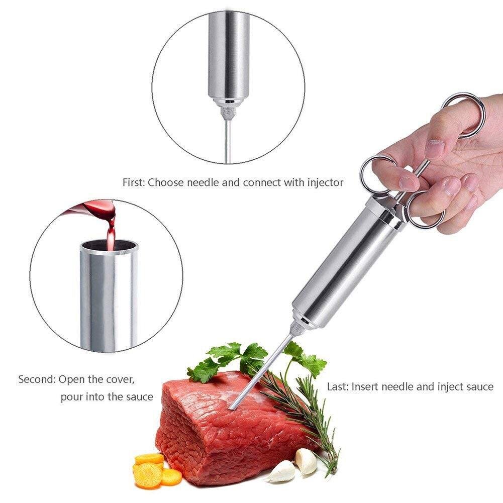 Stainless Steel Turkey Meat Marinade Seasoning Injector 3 Needles Grill BBQ