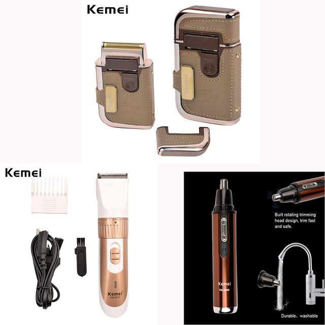 Kemei 1 Hair Trimmer + 1 Pelo de la Nariz + 1 Set Máquina de Corte de Pelo de Afeitar Cuidado Personal Afeitadora Eléctrica Portátil cortador de Las Podadoras de Los Hombres