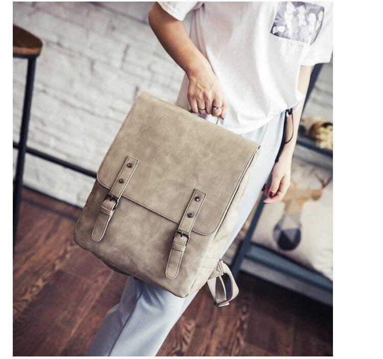 MJ Women Leather Backpack Female PU Leather Travel Bag Large Solid Color Travel Backpack Big School Bag for Teenage Girls (17)
