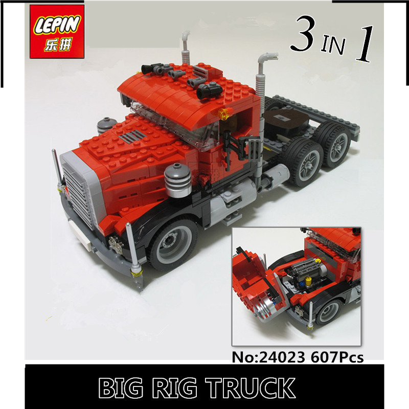 IN-STOCK New lepin 24023 BUILERDS 607PCS Truck trailer 3IN1 Toy building blocks 4955 bricks compatible  RACING MODEL CAR Gift стоимость
