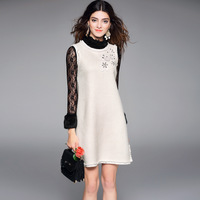 Women Autumn Winter Dress Top Quality 2017 New Brand Runway Fashion Sleeveless Woolen Dress Brief Mini
