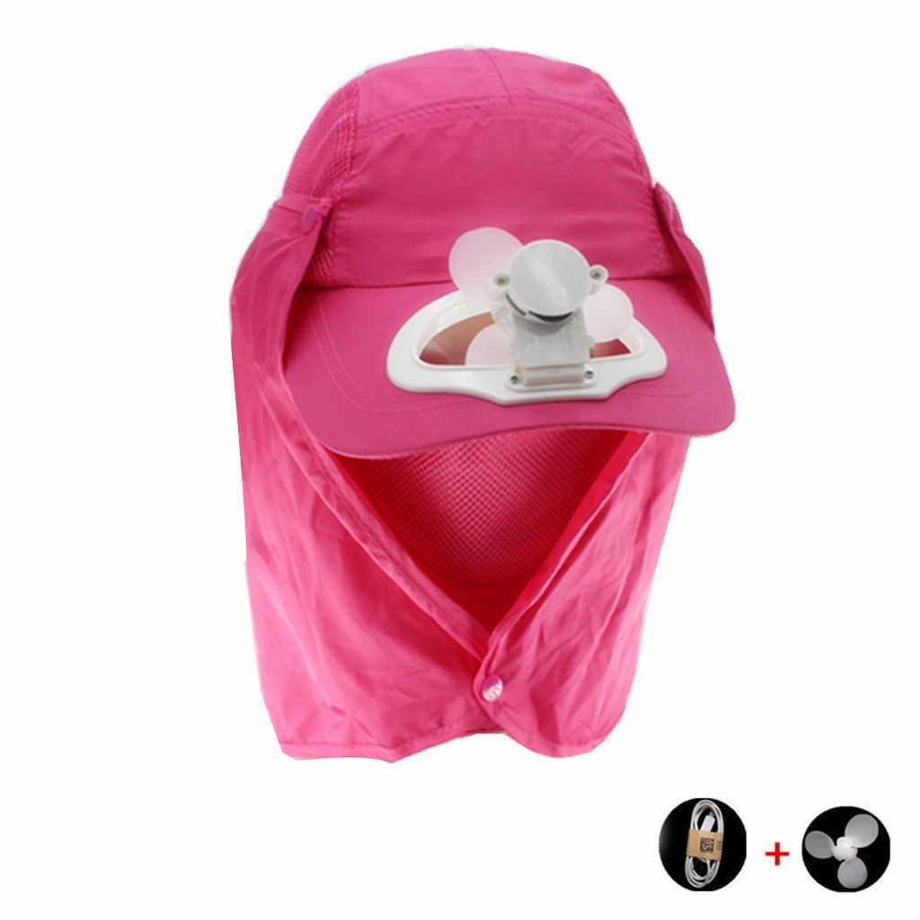 مروحة تبريد الصيف 2019 في الهواء الطلق قبعات Beathable طويل بريم الخالي الأعلى قبعة واقية من الشمس قبعة قناع واقية من الشمس كاب أقنعة الرجال Gorras
