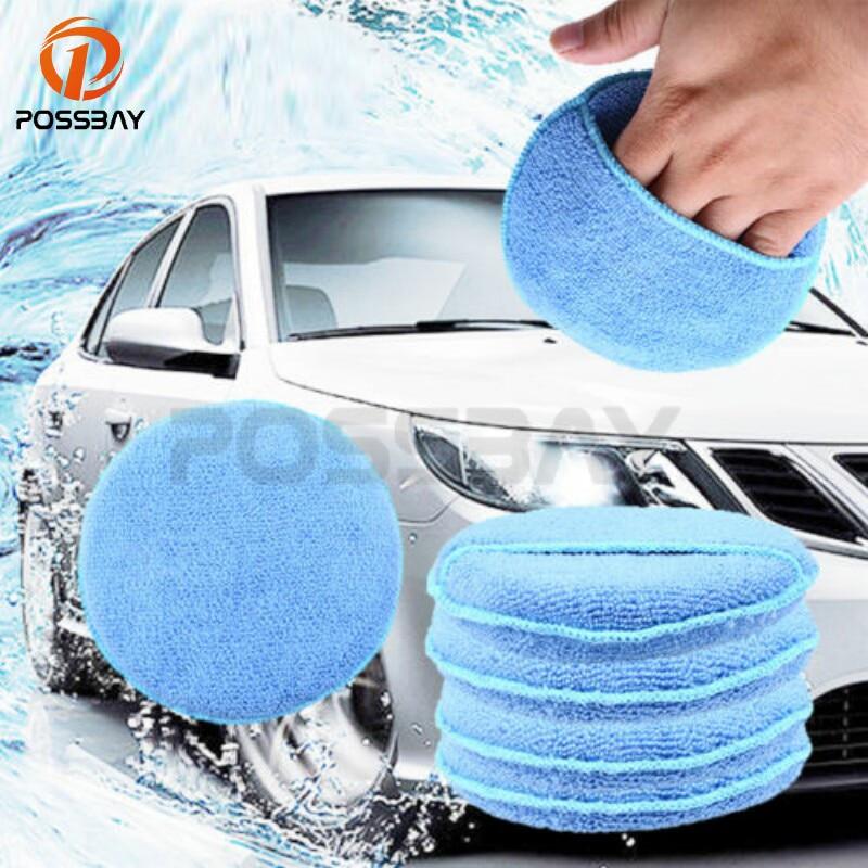 Possbay 1/5 pçs azul redondo macio microfibra carro cera aplicador almofadas polimento esponjas para aplicar e remover cera acessórios do carro