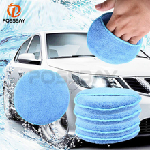 1/5PCS Blue Round Soft Microfiber Car Wax Applicator Pads Polishing Sponges For Apply And Remove Motorcycle Accessories