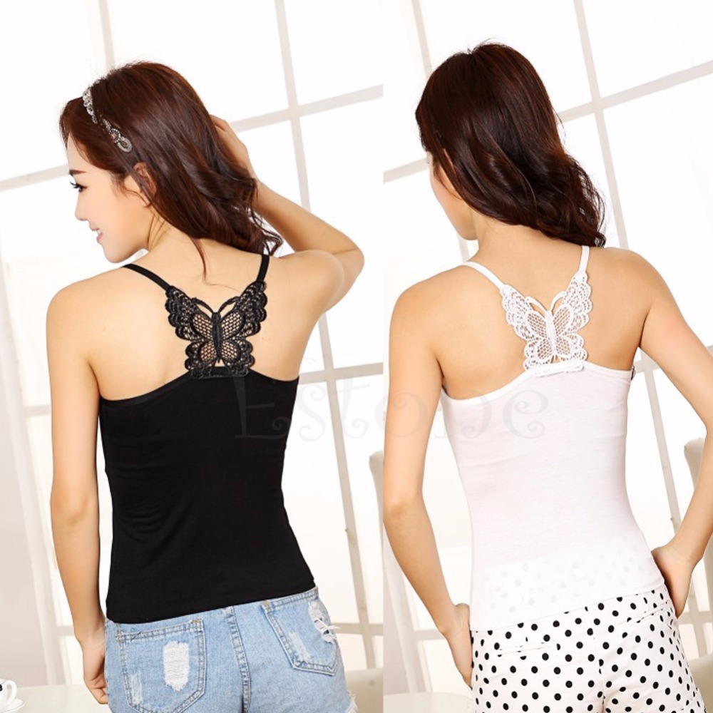 Fashion New Sexy Women Lace Strap Sleeveless Vest Blouse Tank Crop Top Butterfly
