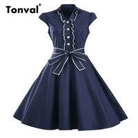 Tonval Women Hepburn Style Ruffles Dress Vintage Turn Down Collar Summer Cap Sleeve Stunning Princess Dress