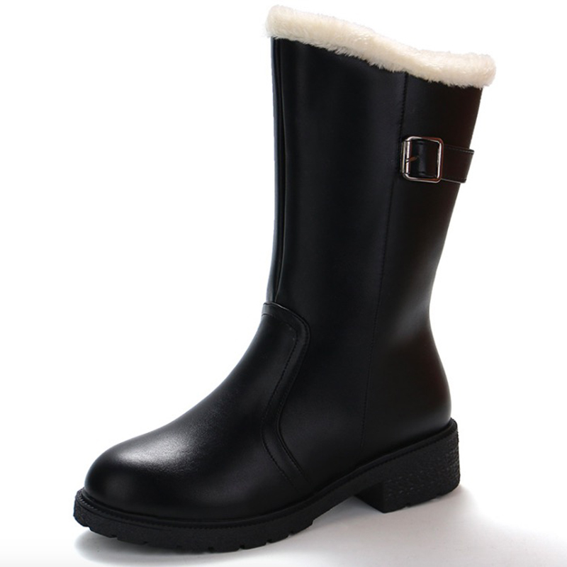 Women Boots 2018 Fashion PU Leather Women Winter Boots Breathable Warm Plush Women Mid-Calf Boots Low Heel Black Snow Boots nancyjayjii velvet women fashion winter mid calf boots black