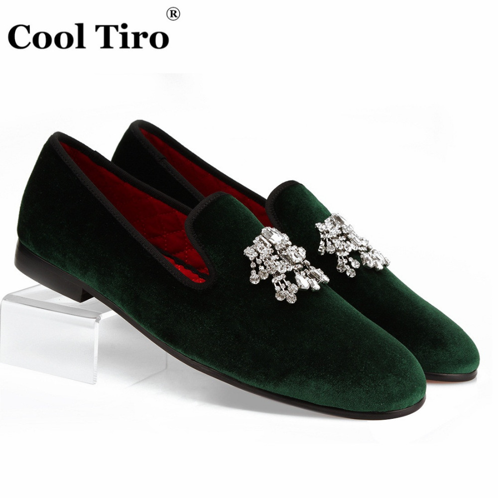 78bbdd1ebd7 COOL TIRO Rhinestones Tassel Loafers Men Green Velvet Shoes Smoking  Slippers Slip-on Shoes Wedding Party Dress Shoes Casual Flat