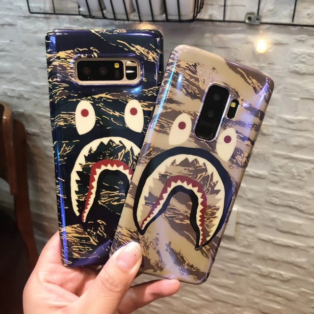 low priced a8542 ecf30 US $3.03 15% OFF|Blu ray laser tide brand bape shark mouth couple silicone  Phone Cases For Samsung Galaxy S7Edge S8 S9 Plus Note8 Case Back Cover-in  ...