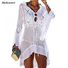 цена на Summer Sexy Women Bikini Cover Up Knitted Solid Color Blouse Hollow Out V-Neck Beach Swim Cover-Up Robe Dress Swim Wear Sundress
