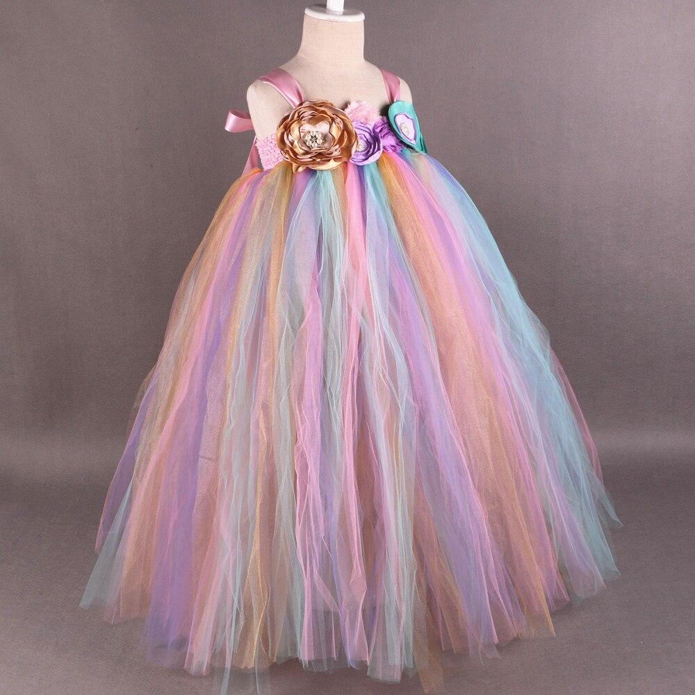 Arc-en-ciel fleur fille Tutu robe princesse enfants filles Tulle robes de fête Boutique enfants filles reconstitution historique robe de bal de mariage - 4