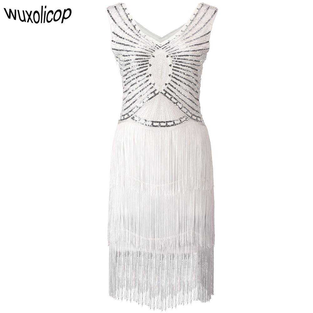 Платье-Чарльстон 1920-х Гэтсби, белое платье с блестками, бахромой и бахромой, платье с двойным V-образным вырезом, вечернее платье без рукавов ...