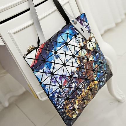 Women Handbags  Fashion Laser Hologram Luxury Handbags Women Bags Designer Geometric Plaid Bag Casual Tote Top-handle Bag