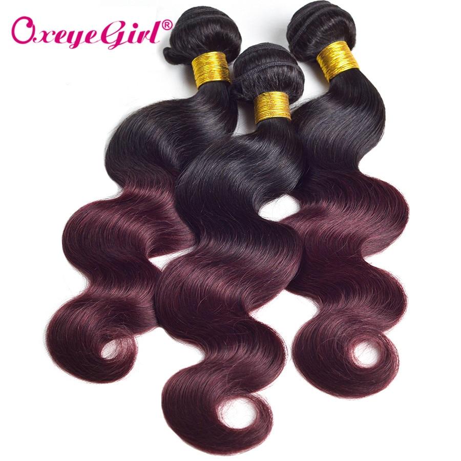 Romantic Oxeye Girl Ombre Peruvian Body Wave Bundles 1b/99j Burgundy 12-24 Ombre Red Hair Bundles 3 Bundle Deals Human Hair Non Remy Human Hair Weaves Hair Extensions & Wigs