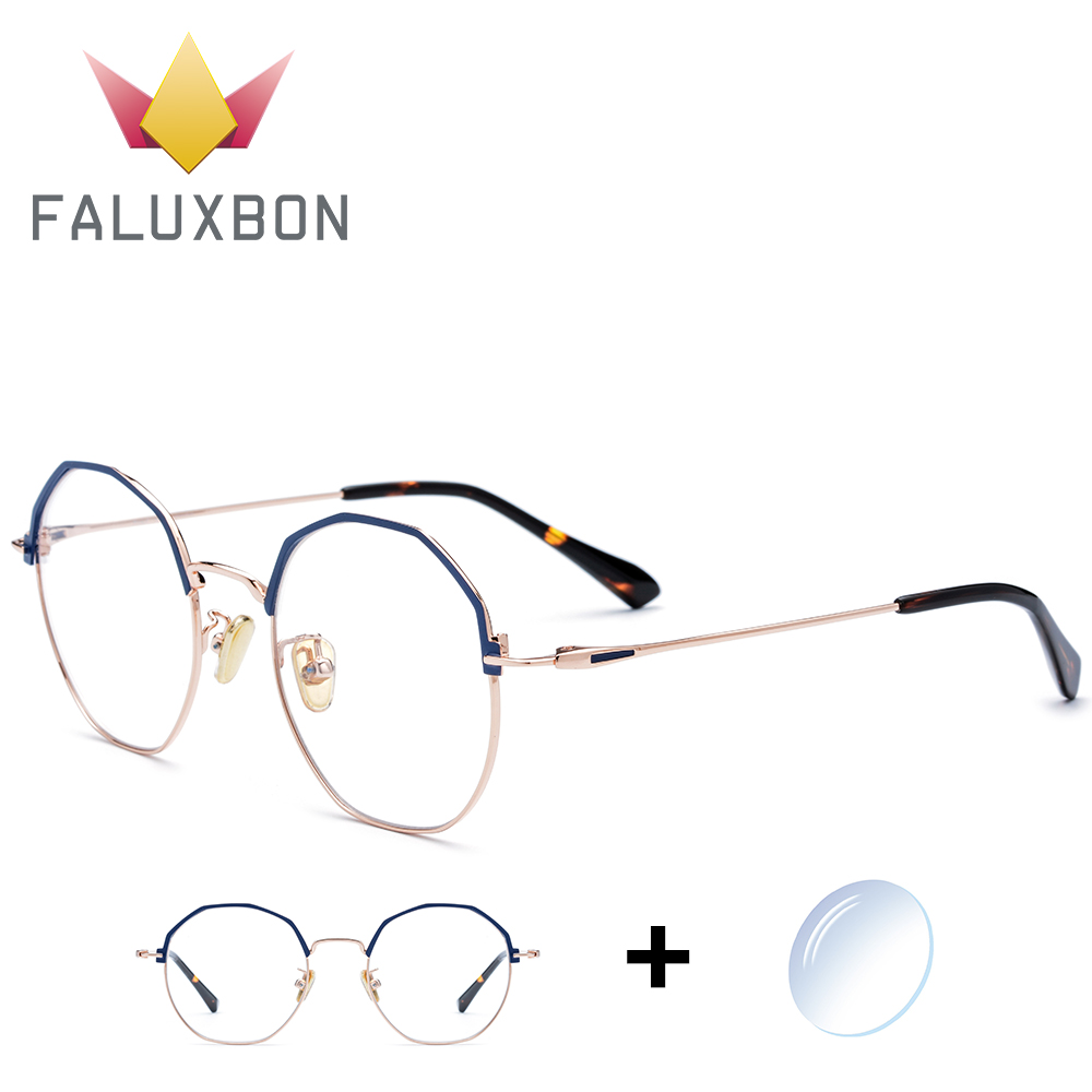 Small Retro Prescription Glasses Women Myopia Anti Blue Light Eyeglasses Optics Clear Eye Glasses Polygon Titanium Alloy 2019
