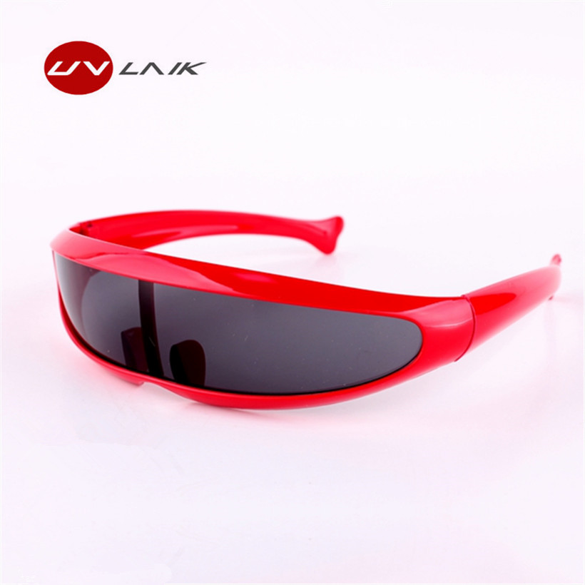 UVLAIK XMen Personality Sunglasses Laser Glasses Men Women Sunglass Robots Silver Lens Sun Glasses Men's Driving Goggles Glasses