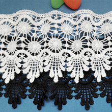 9cm Wide Exquisite Clothing Clothes Tablecloth Curtain Skirt Hem DIY Accessories Water-soluble Lace Black White Embroidery 7cm wide hollow delicate flower lace handmade diy embroidery clothing accessories skirt water soluble edge sewing curtain decor