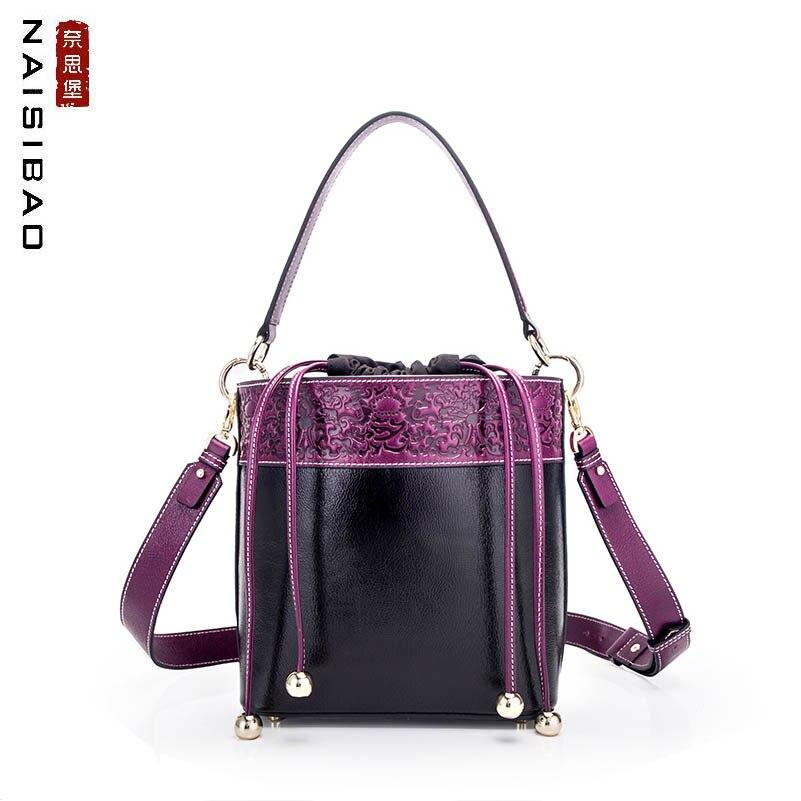 NAISIBAO 2019 Nouvelles femmes Véritable sac En Cuir En Relief peau de vache de mode de luxe sacs à main designer femmes en cuir épaule Seau sac