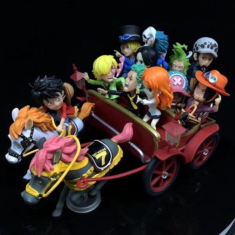 HKXZM Anime One Piece 20th Anniversary Carriage Ichiban Kuji Luffy Sabo ACE Zoro Laws PVC Figures Toys Model Dolls Gift