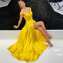 Off Shoulder Yellow Prom Dress Simple Satin High Slit Party Gowns Long Vestido De Formatura Special Occasion Evening