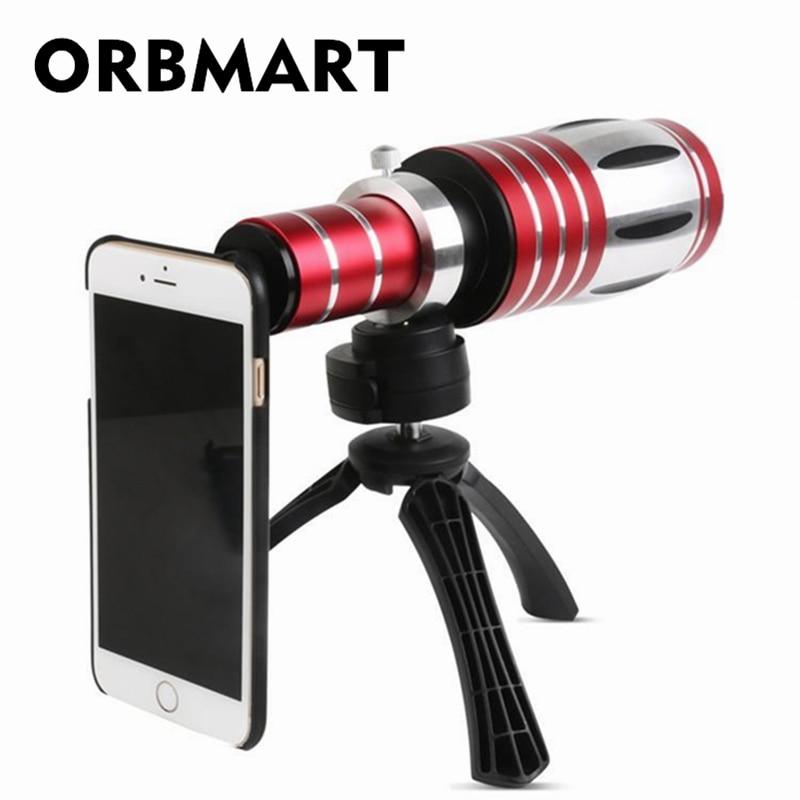 ORBMART 50X optický zoom hliníkový dalekohled s dalekohledem + Stativ zadní kryt pro iPhone 6 6s 6s plus Samsung S6 S5 S4 Poznámka 4 3