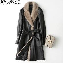 AYUNSUE Новая женская зимняя куртка из натуральной кожи с воротником из натурального меха норки, пальто из овчины, женский пуховик, длинная куртка, KJ706