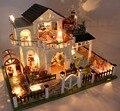 Vigésimo quarto DIY Casa de Boneca Artesanato Modelo 3D De Madeira Kit-Miniaturas Casa De Bonecas-Casa Bonita & Móveis com Luz LED